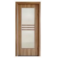 Usa interior celulara cu geam, Eco Euro Doors R80, dreapta, Gol D3, nuc 2, 202 x 76 x 4 cm cu toc