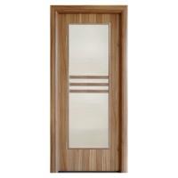 Usa interior celulara cu geam, Eco Euro Doors R80, stanga, Gol D3, nuc 2, 202 x 76 x 4 cm cu toc