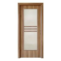 Usa interior celulara cu geam, Eco Euro Doors R80, stanga, Gol D3, nuc 2, 202 x 86 x 4 cm cu toc