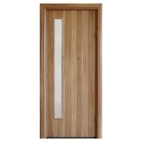 Usa interior celulara cu geam, Eco Euro Doors R80, stanga, Gol II, nuc 2, 202 x 66 x 4 cm cu toc