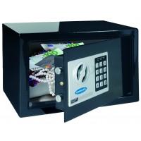 Seif mobila Rottner Design Junior T05533, electronic + cheie, din metal, negru, 310 x 230 x 200 mm