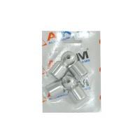 Ansamblu coltar vergea P7, aluminiu eloxat, argintiu, 16 mm, 2 buc / set