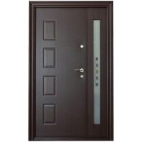Usa metalica pentru exterior Tracia Atlas dubla, stanga, maro, 205 x 120 cm + accesorii