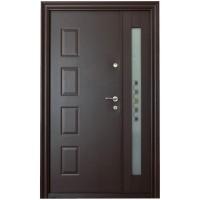 Usa metalica pentru exterior Tracia Atlas dubla, stanga, maro sidefat, 205 x 120 cm + accesorii
