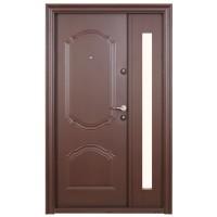 Usa metalica pentru exterior Tracia Cronos, dubla, stanga, maro, 205 x 120 cm + accesorii