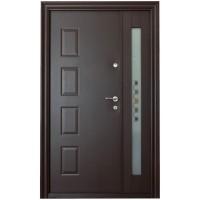 Usa metalica pentru exterior Tracia Atlas, dubla, stanga, maro sidefat, 205 x 140 cm + accesorii