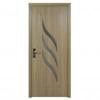 Usa de interior din lemn cu geam Super Door F12-68-P stanga / dreapta gri 203 x 68 cm