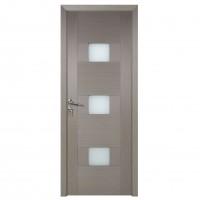 Usa de interior din lemn cu geam BestImp G5-88-G stanga / dreapta gri 203 x 88 cm