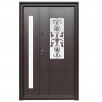 Usa metalica pentru exterior Tracia Apullum, dubla, dreapta, maro cenusiu, 205 x 120 cm + accesorii