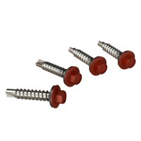 Surub pentru tigla metalica, autoforant, Bilka, rosu inchis RAL 3009, 4.8 x 35 mm, 250 bucati