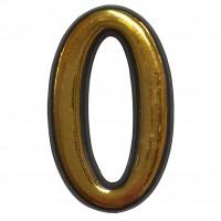 Numar 0 pentru usa Sunprints, plastic, auriu, semirotund, interior / exterior, 55 x 35 mm