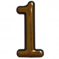 Numar 1 pentru usa Sunprints, plastic, auriu, semirotund, interior / exterior, 5.5 x 3.5 cm