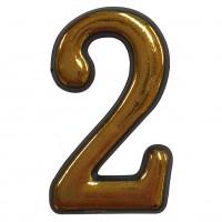 Numar 2 pentru usa Sunprints, plastic, auriu, semirotund, interior / exterior, 5.5 x 3.5 cm