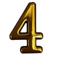 Numar 4 pentru usa Sunprints, plastic, auriu, semirotund, interior / exterior, 5.5 x 3.5 cm