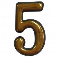 Numar 5 pentru usa Sunprints, plastic, auriu, semirotund, interior / exterior, 55 x 35 mm