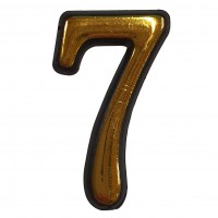 Numar 7 pentru usa Sunprints, plastic, auriu, semirotund, interior / exterior, 5.5 x 3.5 cm
