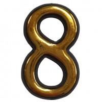 Numar 8 pentru usa Sunprints, plastic, auriu, semirotund, interior / exterior, 5.5 x 3.5 cm
