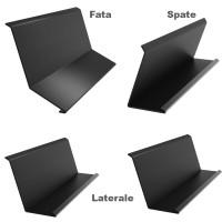 Set cos fum Bilka, 4 piese, negru mat (RAL 9005), 0.5 mm