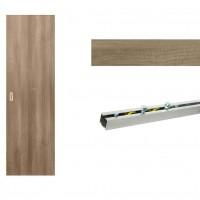 Usa de interior culisanta Eco Euro Doors, plina, gri, 85 x 206 cm + Set mascare pentru usa de interior culisanta, gri, 100 x 2150 x 10 mm + Sistem culisare usa interior, aluminiu, 5 orificii montare, 1.7 m