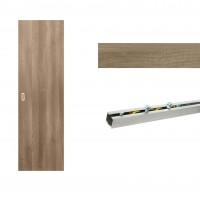 Usa de interior culisanta Eco Euro Doors, plina, gri, 95 x 206 cm + Set mascare pentru usa de interior culisanta, gri, 100 x 2150 x 10 mm + Sistem culisare usa interior, aluminiu, 5 orificii montare, 1.9 m
