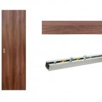 Usa de interior culisanta Eco Euro Doors, plina, nuc, 95 x 206 cm + Set mascare pentru usa interior culisanta, nuc, 12 mm grosime, 100 x 2150 mm + Sistem culisare usa interior, aluminiu, 5 orificii montare, 1.9 m