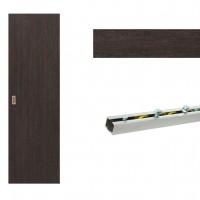 Usa de interior culisanta Eco Euro Doors, plina, wenge, 85 x 206 cm + Set mascare pentru usa de interior culisanta, wenge, 100 x 2150 x 10 mm + Sistem culisare usa interior, aluminiu, 5 orificii montare, 1.7 m