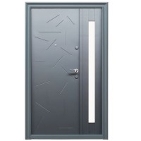 Usa metalica pentru exterior Tracia Argias, dubla, stanga, gri antracit, 205 x 140 cm + accesorii