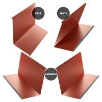 Set cos fum Bilka, 4 piese, rosu inchis mat (RAL 3009), 0.5 mm