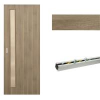 Usa de interior culisanta Eco Euro Doors, cu geam, gri fibra, 85 x 206 cm + maner ingropat + Set mascare pentru usa de interior culisanta, gri, 100 x 2150 x 10 mm + Sistem culisare usa interior, aluminiu, 5 orificii montare, 1.7 m