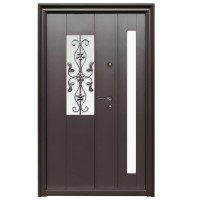 Usa metalica pentru exterior Tracia Apullum, dubla, stanga, maro cenusiu, 205 x 140 cm + accesorii