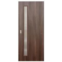 Usa de interior culisanta Eco Euro Doors, cu geam, nuc fibra, 85 x 206 cm + maner ingropat