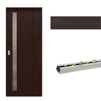 Usa de interior culisanta Eco Euro Doors, cu geam, wenge fibra, 85 x 206 cm + Set mascare pentru usa de interior culisanta, wenge, 100 x 2150 x 10 mm + Sistem culisare usa interior, aluminiu, 5 orificii montare, 1.7 m
