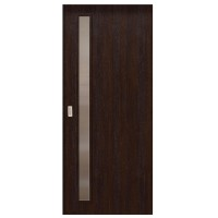 Usa de interior culisanta Eco Euro Doors, cu geam, wenge fibra, 85 x 206 cm + maner ingropat