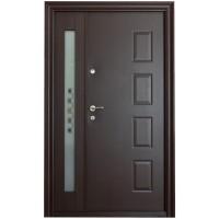 Usa metalica pentru exterior Tracia Atlas, dubla, dreapta, maro sidefat, 205 x 140 cm + accesorii