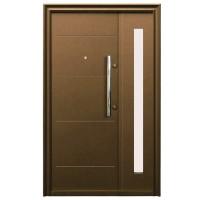 Usa metalica pentru exterior Tracia Traiana, dubla, stanga, maro, 205 x 140 cm + accesorii