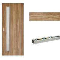 Usa de interior culisanta Eco Euro Doors, cu geam, nuc 2 fibra, 85 x 206 cm + Set mascare pentru usa de interior culisanta, nuc 2, 12 mm grosime, 100 x 2150 mm + Sistem culisare usa interior, aluminiu, 5 orificii montare, 1.7 m