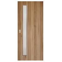 Usa de interior culisanta Eco Euro Doors, cu geam, nuc 2 fibra, 85 x 206 cm + maner ingropat