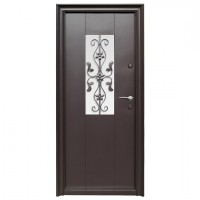 Usa metalica pentru exterior Tracia Apullum, stanga, maro, 205 x 88 cm + accesorii