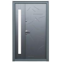 Usa metalica pentru exterior Tracia Argias, dubla, dreapta, gri antracit, 205 x 120 cm + accesorii