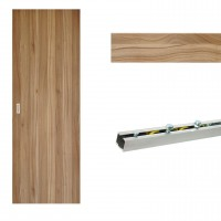 Usa de interior culisanta Eco Euro Doors, nuc 2, plina, 95 x 206 cm + Set mascare pentru usa de interior culisanta, nuc 2, 12 mm grosime, 100 x 2150 mm + Sistem culisare usa interior, aluminiu, 5 orificii montare, 1.9 m