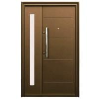 Usa metalica pentru exterior Tracia Traiana, dubla, dreapta, maro, 205 x 140 cm + accesorii