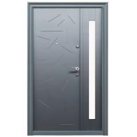 Usa metalica pentru exterior Tracia Argias, dubla, stanga, gri antracit, 205 x 120 cm + accesorii