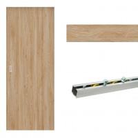 Usa de interior culisanta Eco Euro Doors Maria, plina, stejar, 85 x 206 cm + Set mascare pentru usa de interior culisanta Maria, stejar, 12 mm grosime, 100 x 2150 mm + Sistem culisare usa interior, aluminiu, 5 orificii montare, 1.7 m