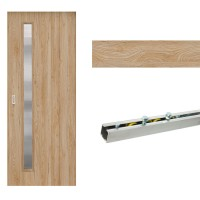 Usa de interior culisanta Maria Eco Euro Doors, cu geam, stejar fibra, 95 x 206 cm + Set mascare pentru usa de interior culisanta Maria, stejar, 12 mm grosime, 100 x 2150 mm + Sistem culisare usa interior, aluminiu, 5 orificii montare, 1.9 m