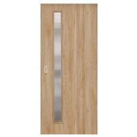 Usa de interior culisanta Maria Eco Euro Doors, cu geam, stejar fibra, 95 x 206 cm + maner ingropat
