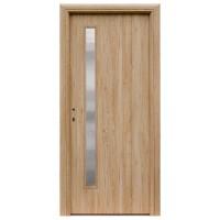 Usa interior celulara cu geam, Eco Euro Doors R80 Maria, dreapta, Gol II, stejar cu fibra, 202 x 76 x 4 cm cu toc rotunjit
