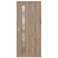 Usa de interior culisanta Elena Eco Euro Doors, cu geam, gri fibra, 85 x 206 cm + maner ingropat