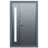 Usa metalica pentru exterior Tracia Argias, dubla, dreapta, gri antracit, 205 x 140 cm + accesorii