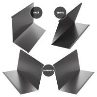 Set cos fum Bilka, 4 piese, gri lucios (RAL 7024), 0.45 mm