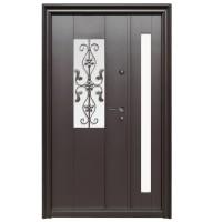 Usa metalica pentru exterior Tracia Apullum, dubla, stanga, maro cenusiu, 205 x 120 cm + accesorii